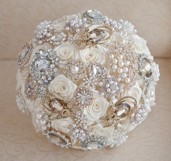 Brooch bouquet. Deposit on a Ivory, Champagne and Silver Brooch Bouquet, Bridal bouquet. on Etsy, £37.76