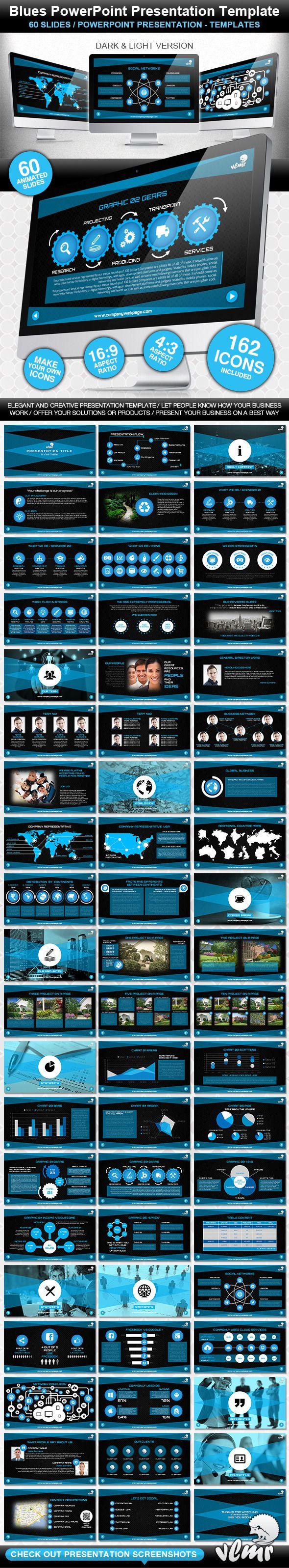 Blues PowerPoint Presentation Template - Creative PowerPoint Templates