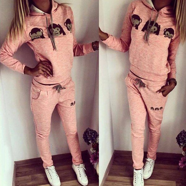 $21.67 Cute Hooded Emoji Printed Pullover Hoodie and Elastic Waist Pants Twinset For Women