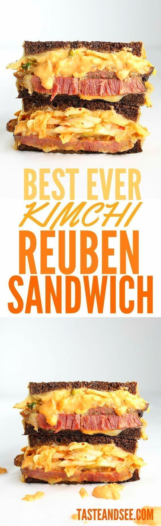Kimchi #Reuben Sandwich!  Salty tender corned beef & melted Swiss, with spicy,crispy kimchi plus sweet, creamy, zesty Russian dressing…on toasted pumpernickel. Best. Sandwich. Ever.  http://tasteandsee.com