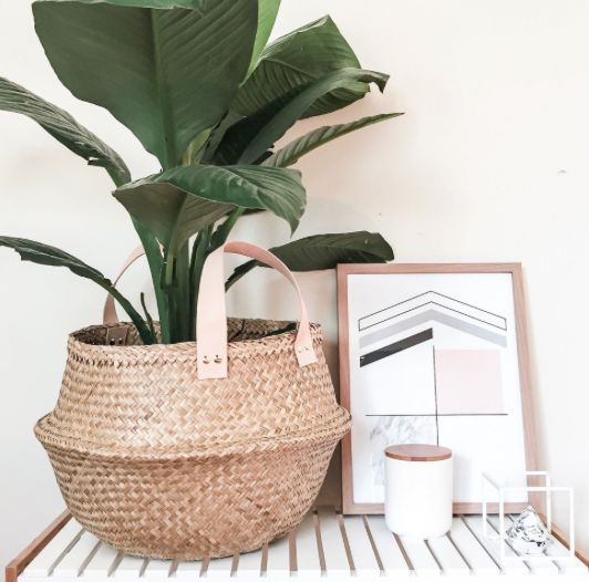 Our belly baskets in natural are perfect for any use, whether you need to store a few pillows or blankets or you are housing a new fiddle leaf fig or palm in your basket, with the addition of Natural Leather handles for that extra touch of Luxe!!