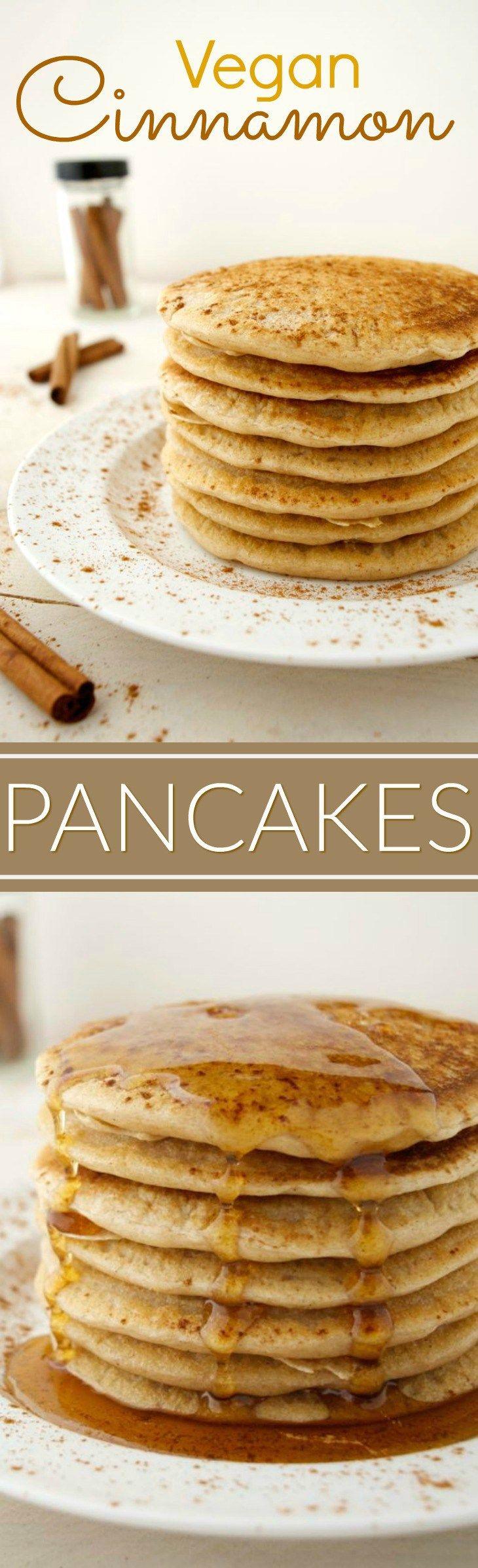 canela panquecas vegan são o pequeno-almoço de fim de semana perfeito! Eles são quentes, luz, macio e sabor semelhante a um rolo de canela. Adicione algumas gotas de chocolate à massa para uma torção achocolatada. Eles são fáceis de fazer e requer apenas 9 ingredientes simples!