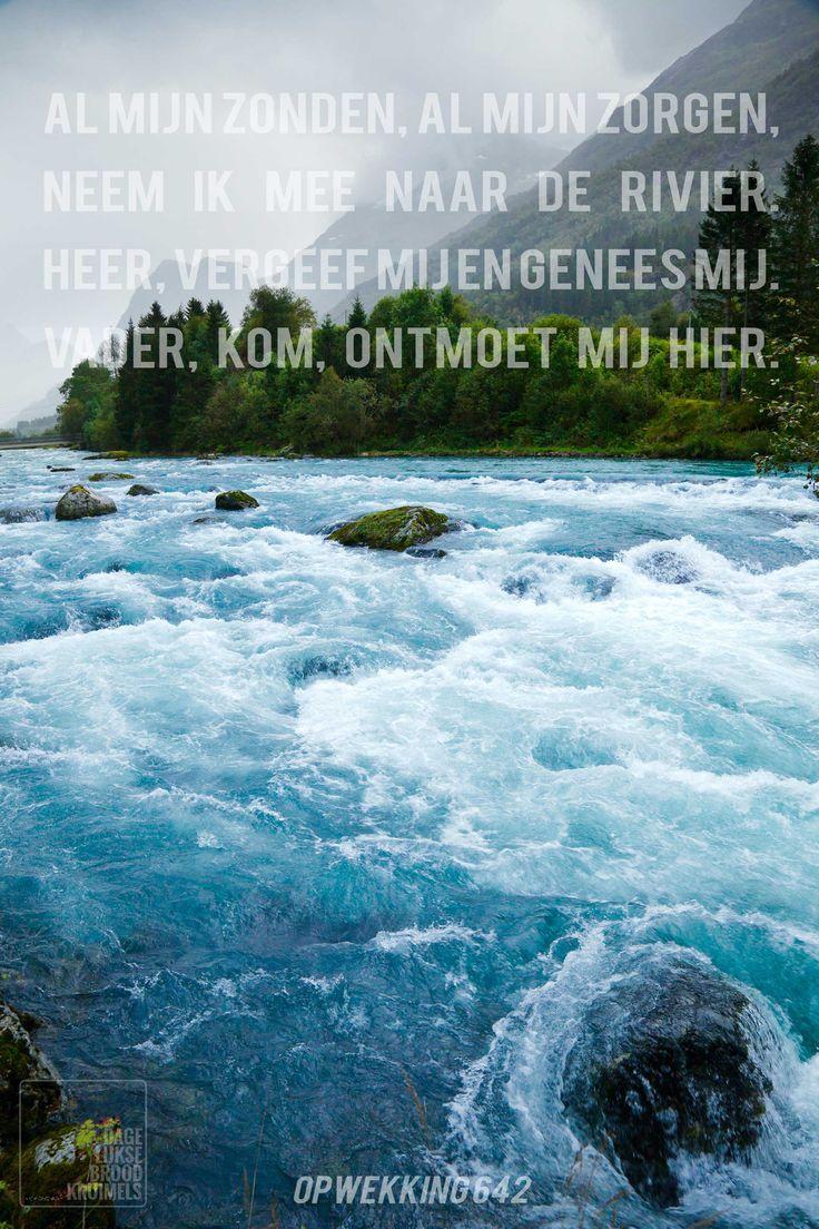 Al mijn zonden, al mijn zorgen, neem ik mee naar de rivier. Heer, vergeef mij en genees mij Vader, kom, ontmoet mij hier. Opwekking 642 De rivier   http://www.dagelijksebroodkruimels.nl/quotes-christelijke-muziek/opwekking-642/