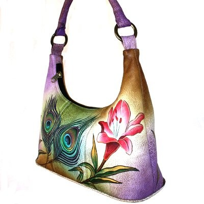 $179.00 Anuschka Leather Small Hobo Lily Flower Peacock Feather - Why ANUSCHKA? Because she is like no other! One thing is for sure - you can not be indifferent to this brand. This Small Shoulder Hobo Hand Painted Lily Flower Peacock Feather Anuschka Genuine Leather Handbag is one-of-a kind hand painted on grained cowhide, each peace sketched, painted in layers to ensurers long lasting quality and ...