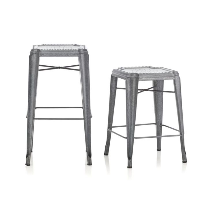 All the charm and character of a flea market find, our galvanized steel stool is crafted with unique reverse-arched legs and distinctive beading and decorative perforations.  The hot-dip galvanizing process creates random formations of spangles, and each stool gets a dose of hand distressing, ensuring that each piece is truly unique.  Lightweight yet sturdy stools stack up to four high for indoor or outdoor use.