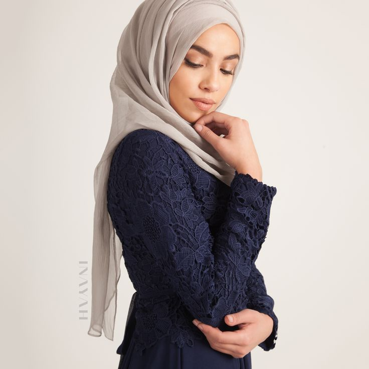 Simplicity at its core. Channel both femininity and elegance and create a bold statement with rich colours and authentic designs - Navy Crochet #Dress + Feather Grey Maxi Silk Chiffon #Hijab www.inayah.co