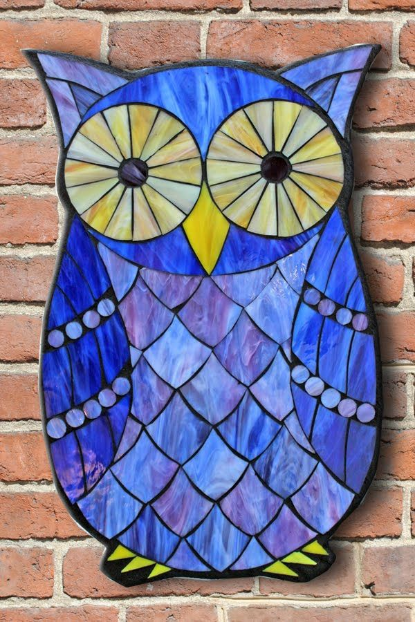 Student Work from a Kasia Mosaics Stained Glass Mosaic Owl Workshop - Mosaic Owl by Chris. Sign up for the Online Class or an All Level Workshop in Denver, Colorado via www.kasiamosaics.com