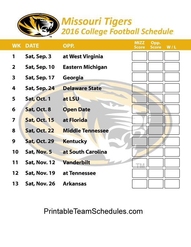 Missouri Tigers Football Schedule 2016. Score Updates & Printable Schedule Here - http://printableteamschedules.com/collegefootball/missouritigers.php
