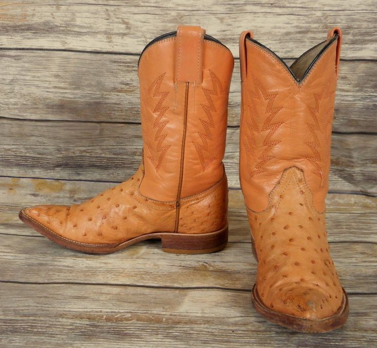 Kids Cowboy Boots Orange Cream Leather Ostrich Childrens Size 1 Western Country #Unbranded #Boots