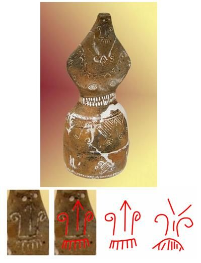 Cultura Gârla Mare - statuetă antropomorfă feminină.