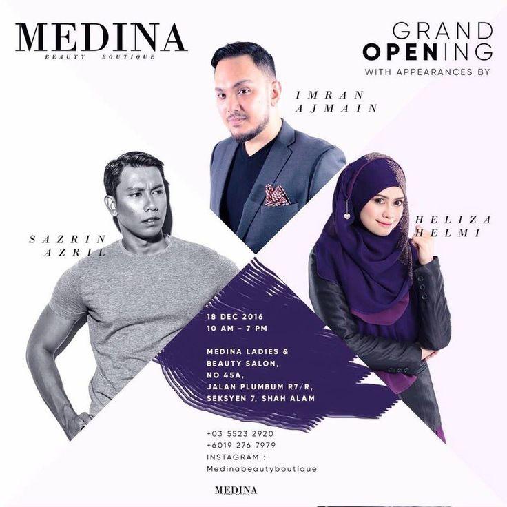 Esok saya @sazrinaizul dan @nurhelizahelmi akan berada di Shah Alam Seksyen 7 sempena pembukaan vendor butik dan salon kecantikan Medina Beauty Boutique. Terbuka kepada orang ramai. Dijemput hadir! - Boleh follow @medinabeautyboutique di Instagram juga. Jumpa esok!