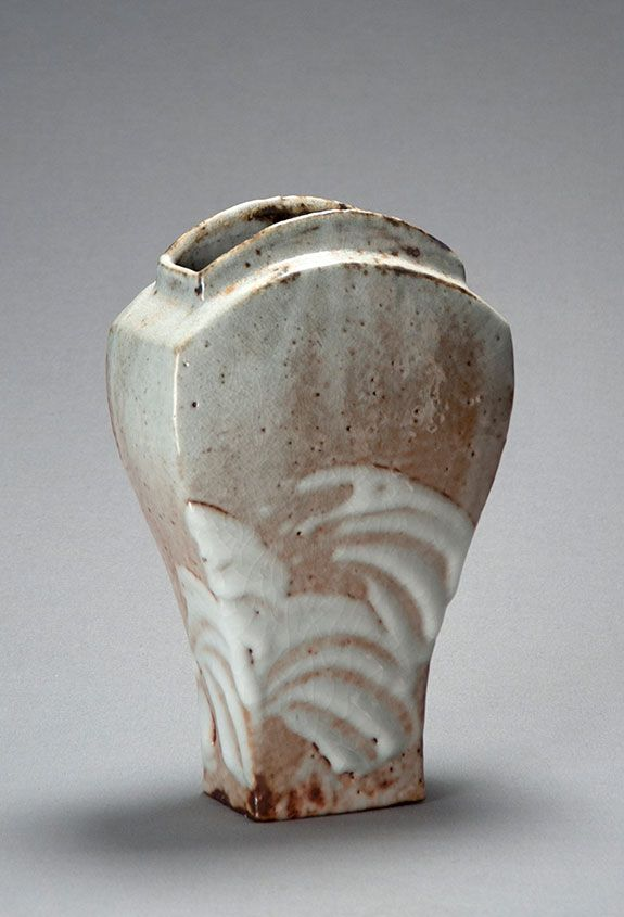 "Ken Matsuzaki, Vase, yohen shino glaze, stoneware, 13 x 7.57 x 4.25"""