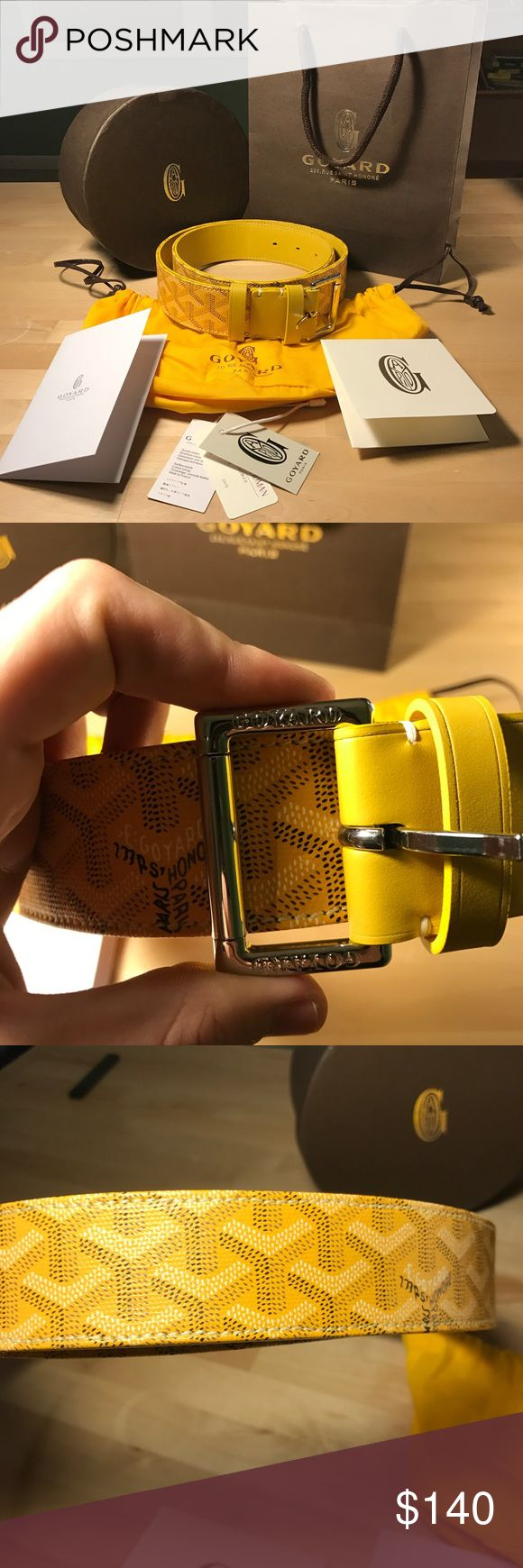 Goyard Belt Yellow For sale is a brand new Goyard Belt in yellow. Comes with all cards seen. 90 cm long, fits waist size 30-34 thanks to the multiple holes.   This belt is brand new as you can see by the photos. Never been worn. Comes with everything pictured, box, bag, and all.   Shipped via USPS priority mail the day of or day after your purchase. Please message me with any further questions or inquiries. Thank you Goyard Accessories Belts