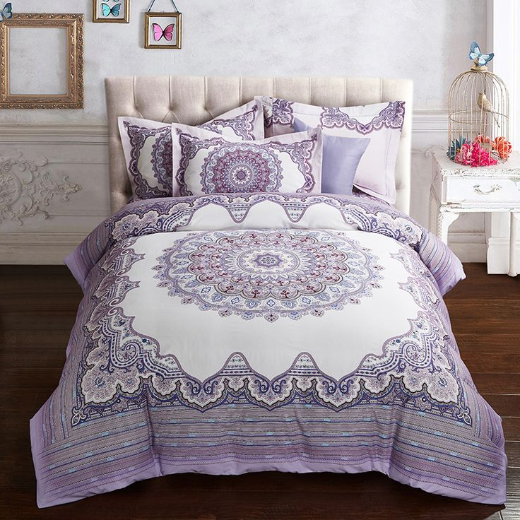 Purple Blue Luxury Boho Bedding set Queen King size Thick