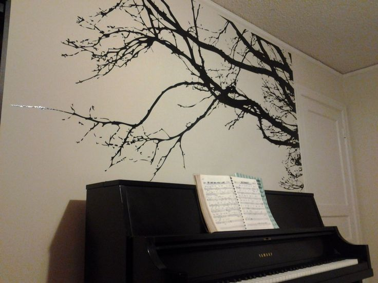 """Amazon.com - Stickerbrand© Nature Vinyl Wall Art Tree Top Branches Wall Decal Sticker - Black, 100"""" x 44"""", Right to Left. Easy to Apply & Removable. Includes FREE Application Squeegee -"""
