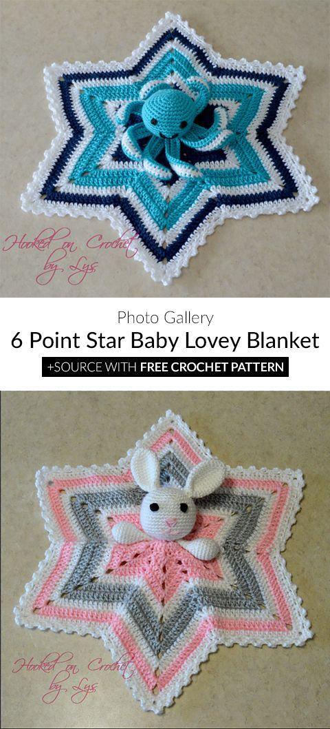 6 Point Star Baby Lovey Blanket Crochet Craft Crochet Pinterest