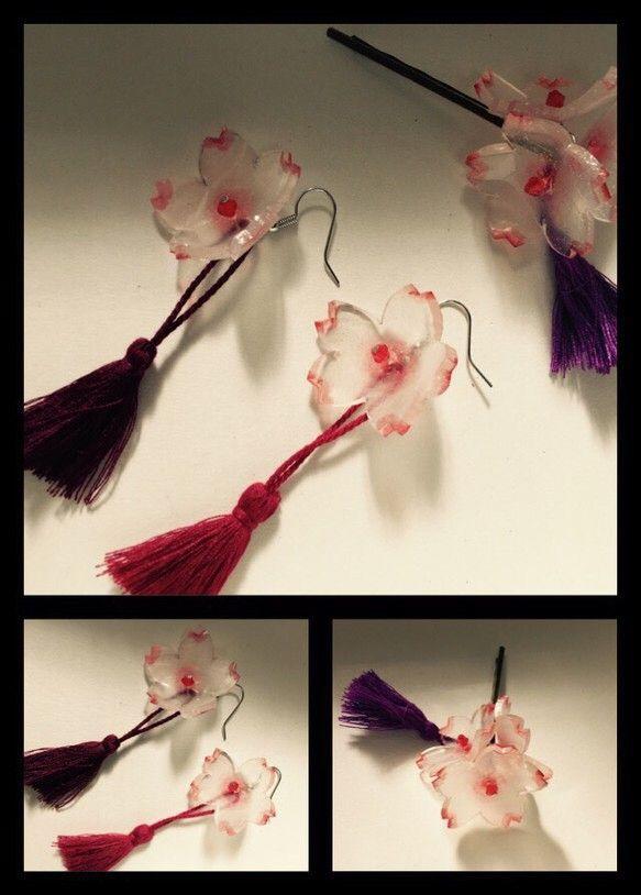 桜のモチーフとタッセルが着いたアクセサリーのセットです。素材…プラ板 ハンドメイド、手作り、手仕事品の通販・販売・購入ならCreema。