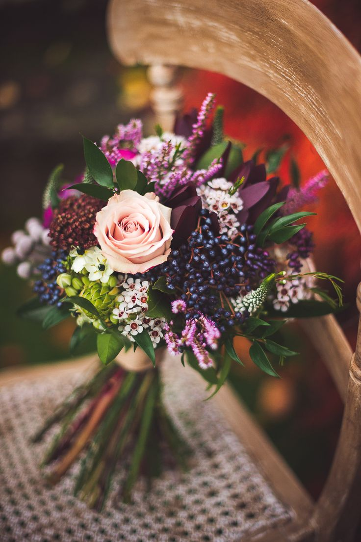 Image by Rebekah J.Murray Photography. The Fall. Bouquet by Sarah at Mrs Umbels #weddingbouquets #purple