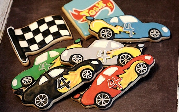 1 Dozen Race Car Sugar Cookies by MissBettyCakesBakery on Etsy, $30
