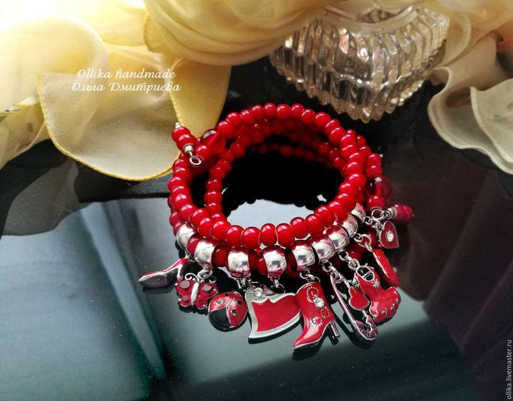 Купить Браслет Лето Красное! Яркое, Жаркое! многорядный браслет намотка - украшение на руку