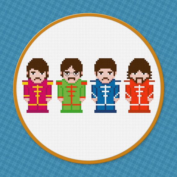 Beatles Rock Band Cross Stitch PDF Pattern by pixelpowerdesign, $4.00