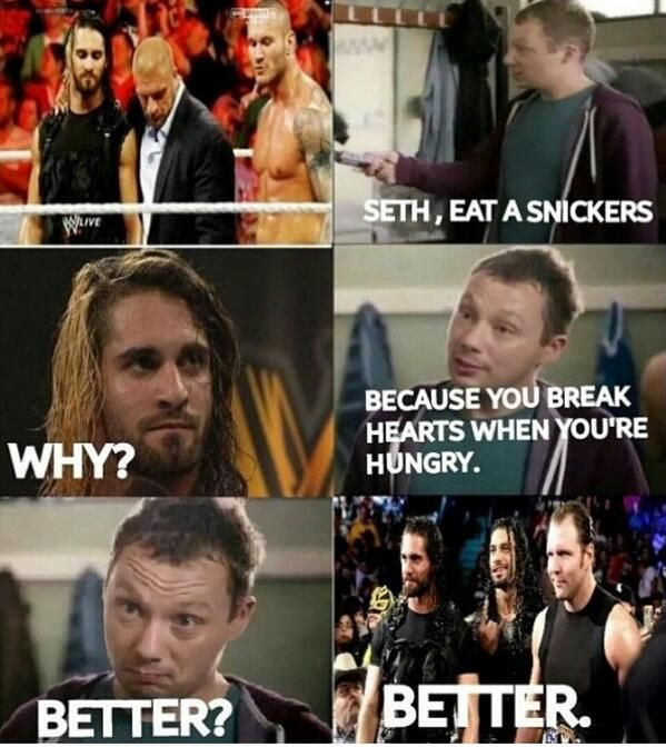 Seth Rollins EAT A SNICKERS!! #WWE