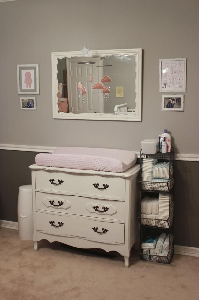 Delightful Baby Girl Nursery Mobile Over The Changing Table