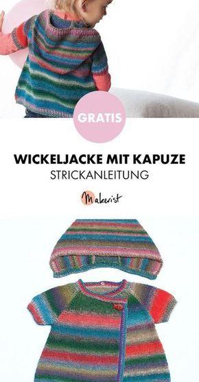 Gratis Anleitung: Wickeljacke mit Kapuze für Kinder stricken ...