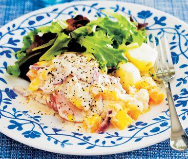 Utmärkt kasslergratäng med mango och ingefära. Angenäma smaker av salt och lite sött ger rätten sin alldeles egna smak. Servera med pressad potatis och en grön sallad.