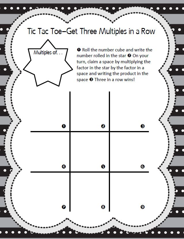 Fact practice is meaningful and engaging with this multiples tic tac toe game!