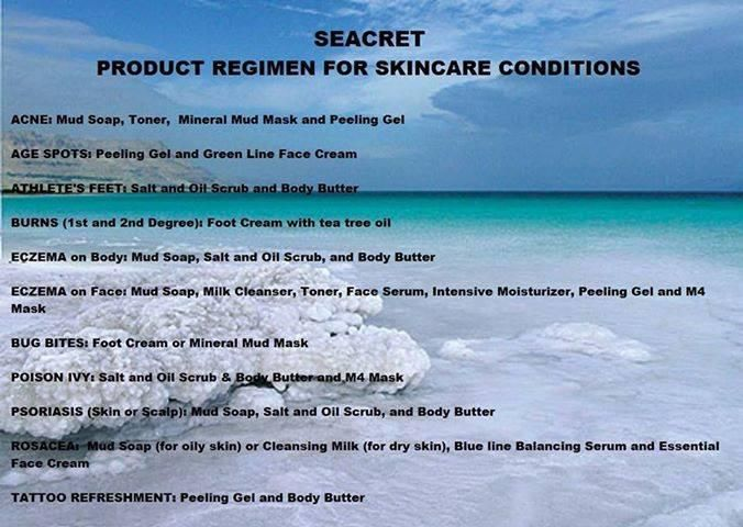 Seacret product solutions for skin problems  www.seacretdirect.com/cindyhowes Independent Agent