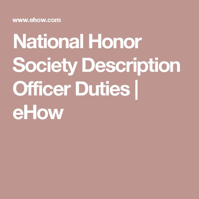 National Honor Society Description Officer Duties | eHow