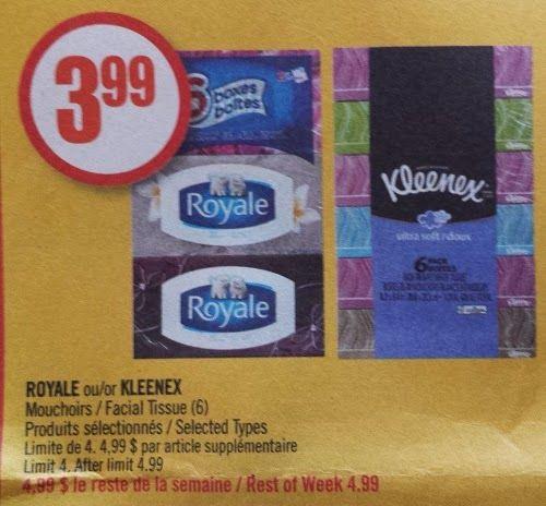 Coupons et Circulaires: 2,99$ Kleenex ou Royale, emb. de 6 boîtes