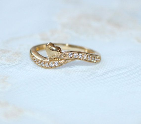 Heart Diamond Ring. Solitaire Gold Ring. Pave by DanelianJewelry