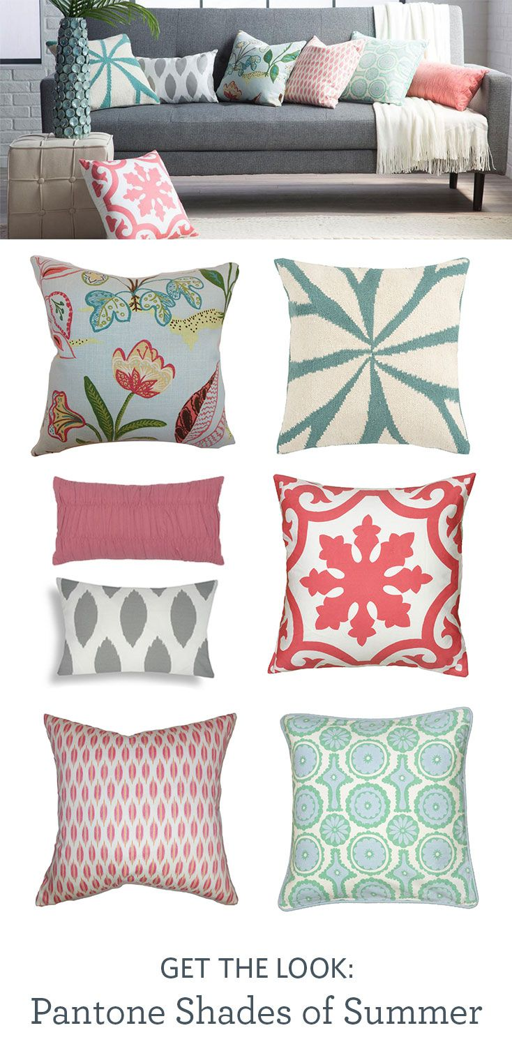 Add a splash of color to your room with shades of aqua and coral. Pick from decorative and throw pillows in several patterns, designs, and Pantone-inspired hues.