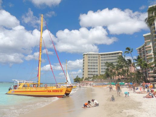 There's more room for sunbathing and building sandcastles on a stretch of Waikiki Beach.