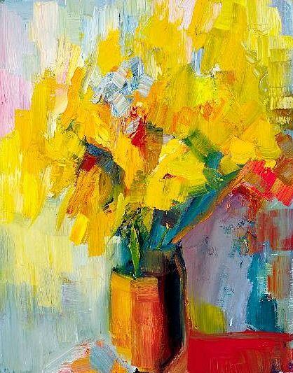 Lena Levin    Nothingness: Sunflowers    2013 #floral #botanical #art #painting
