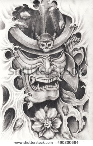 Samurai warrior tattoo design.Hand pencil drawing on paper.