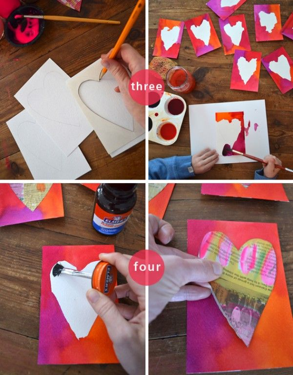 you are my fave: painted newspaper hearts