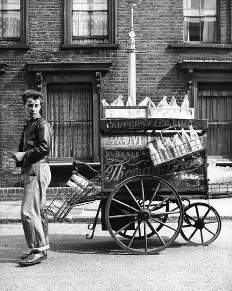 A milkman and his cart in Bethnal Green, 1952