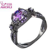 AMORUI Faixas de Casamento Na Moda Liga Cor Arma Preto Roxo Cubic Zircon Anéis para As Mulheres Da Moda Festa Anel de Noivado jóias alishoppbrasil