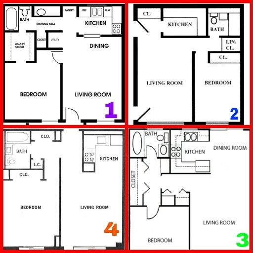 Best Four One Bedroom Floor Plans All Square Blue Prints 400 x 300