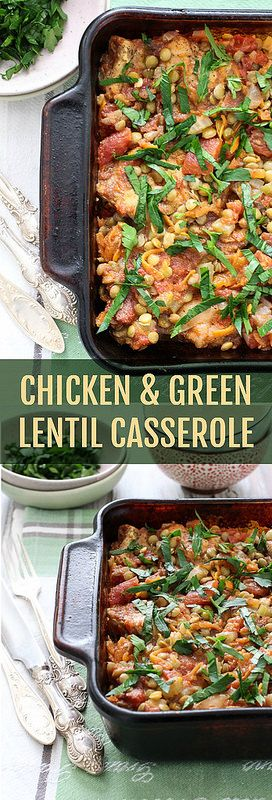 This Chicken and Green Lentil Casserole is comforting, flavorful, and rich in protein. Just place all the ingredients into a baking dish and let the oven do it's magic.