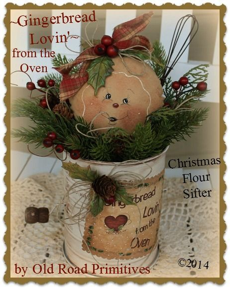 ***NEW*** Gingerbread Lovin from the Oven Christmas Flour Sifter Pattern-Gingerbread,Christmas,Pattern,ePattern,Old Road Primitives,