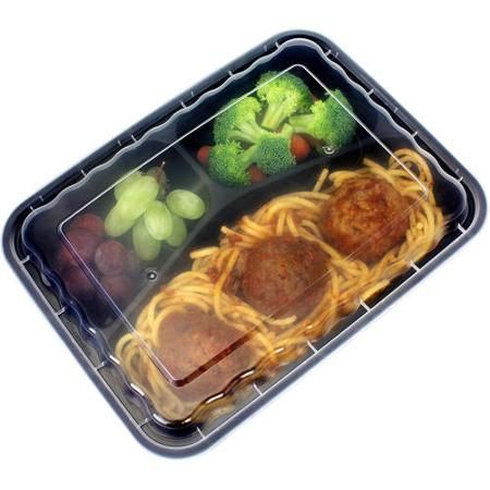 Freshware 15-Pack 3-Compartment Lunch Bento Box Reusable and Microwavable Food Container with Lids, YH-9598 - Walmart.com - $14.99