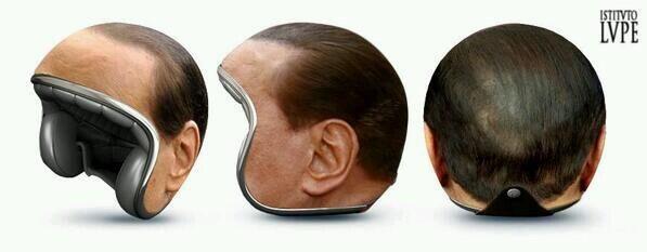 casco, umorismo, capelli finti