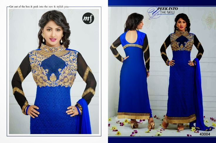 Exquisite  Straight cut Rafel Net and Georgette Semi- stitched suit with thread embroidery in Blue and Black Combination. Comes along with Santoon bottom and Chiffon dupatta.