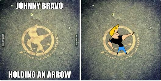 Hunger games logo =Johnny bravo holding an arrow