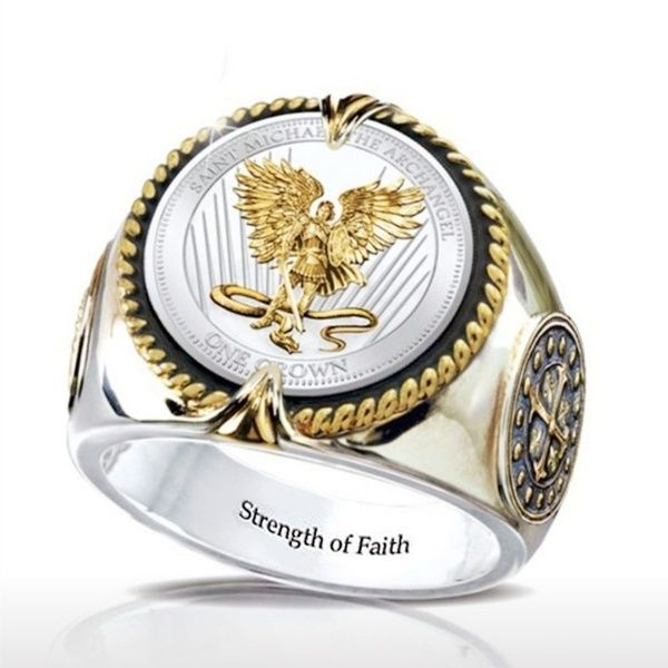 Two Royal Lions and Shield Mens Ring Signet Silver