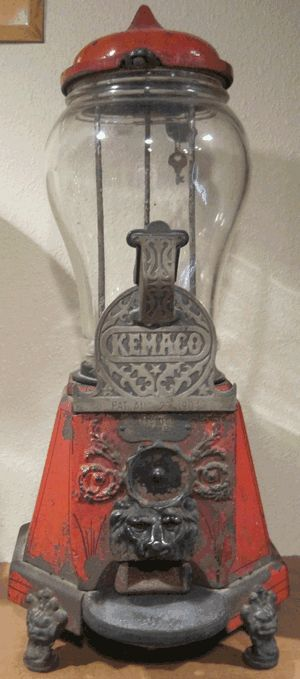 Gum ball machine made by KEMACO, the Kelley Manufacturing Company in 1904.